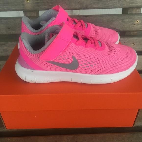 Girls Pink Nike Free Rn Tennis Shoes